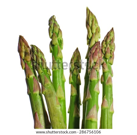 Fresh asparagus isolated white - stock photo