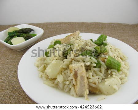 Fresh asparagus with rice and chicken meat