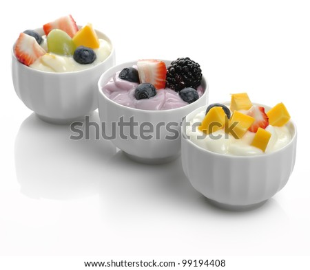 Fresh Assorted Yogurts With Fruits And Berries