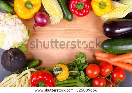 Fresh autumn organic vegetables. Healthy eating frame.  - stock photo
