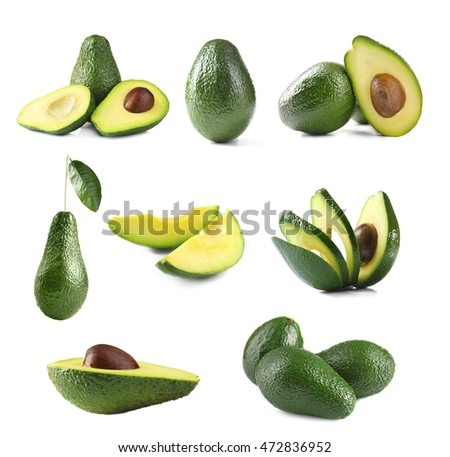 Fresh avocado collage isolated on white