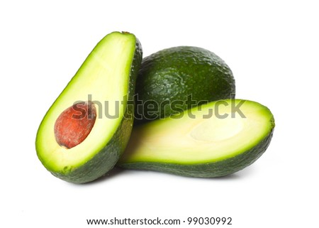 Fresh avocado fruit isolated over white background