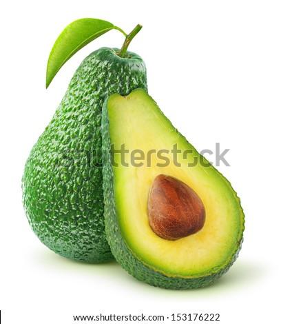 Fresh avocado isolated on white - stock photo