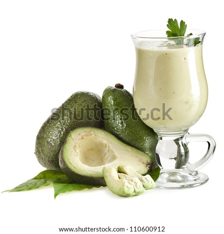 Fresh Avocado smoothie isolated on white background - stock photo