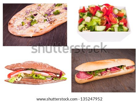 Fresh baguette and salad, pizza collection - stock photo
