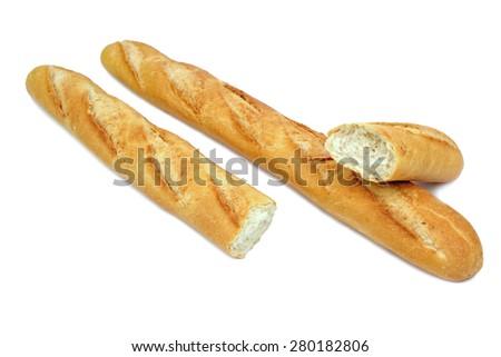 Fresh baguette isaolated on white background - stock photo
