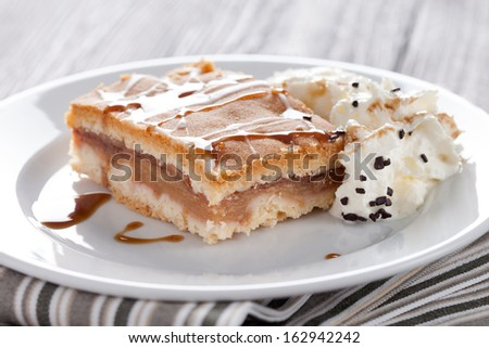 Fresh baked apple cake served with whipped cream and vanilla icecream. Homemade dessert decorated with sweet sauce and frosting. - stock photo