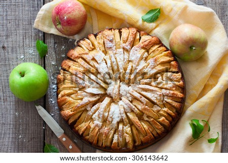 Fresh baked apple pie on the natural wood background - stock photo