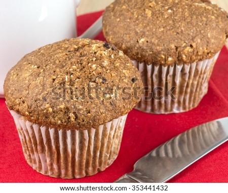 Fresh baked bran muffins - stock photo