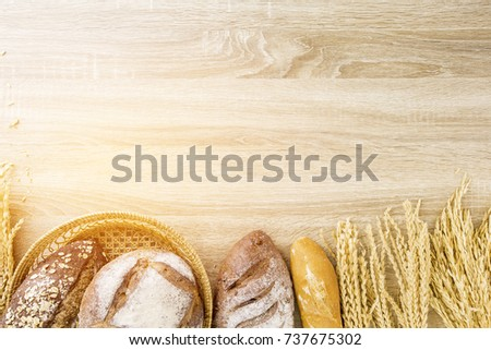 fresh baked bread on table, top view