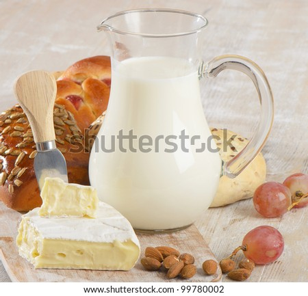 Fresh baked bread with  milk