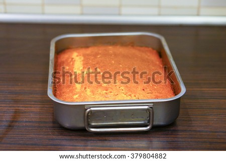 Fresh baked carrot cake in a oven dish