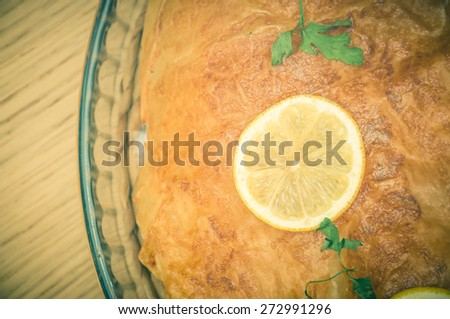 Fresh baked Moroccan Pastilla or pastela - stock photo