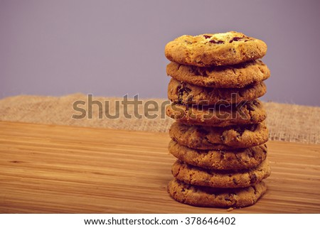Fresh baked Stack of warm oatmeal cranberry cookies - stock photo