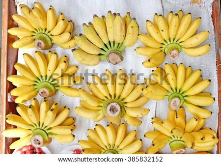 fresh bananas at the city market - stock photo