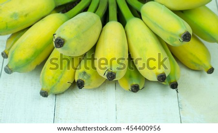 Fresh bananas, Cultivated banana on white background, Banana is idiom of crazy - stock photo