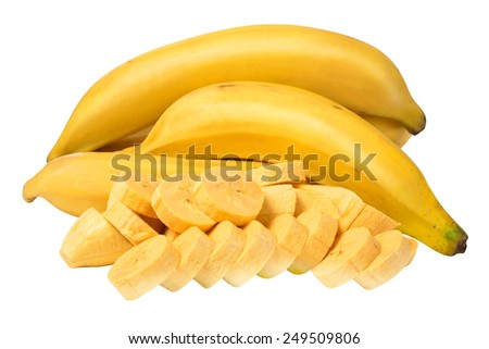 Fresh bananas with clipping path. - stock photo