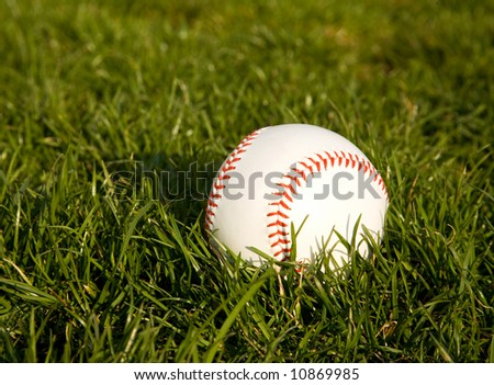 fresh baseball laying in the grass before the game