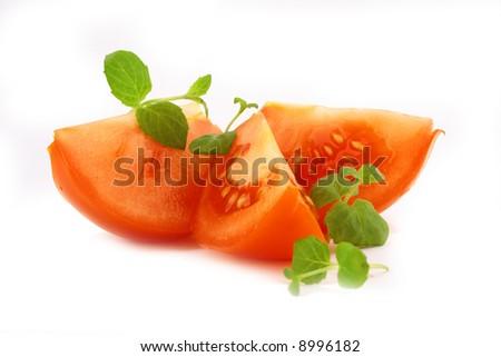 fresh basil and tomato - stock photo