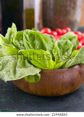 Fresh basil in a wooden bowl with cherry tomatoes in the background. Shallow DOF, front basil leaves and a water drop on the side of the bowl are focus point.
