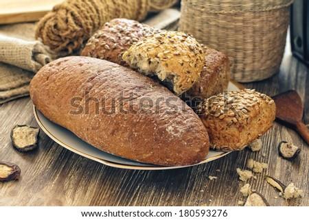 Fresh beautiful mixed bread close up shoot - stock photo