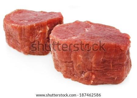 fresh beef isolated on white - stock photo