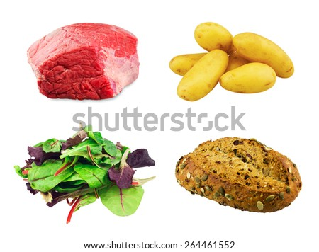 fresh beef slab, Mixed salad baby red leaf, baby spinach & red chard, Cranberry Pumpkin Bread, Young potatoes isolated on white background. - stock photo