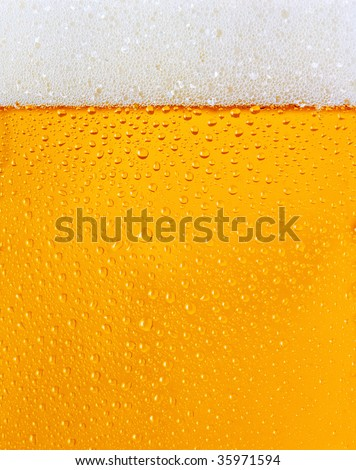 Fresh beer dewy glass texture - stock photo