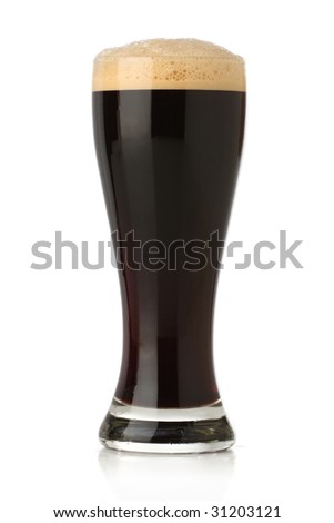 Fresh beer glass over white background - stock photo