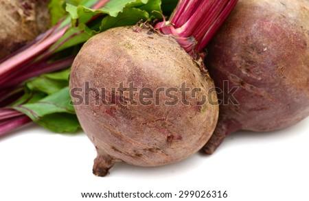fresh beetroot isolated on white  - stock photo
