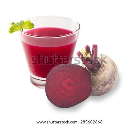 Fresh beetroot juice isolated on white background - stock photo