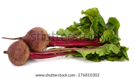 fresh beets with leaves isolated on white  - stock photo