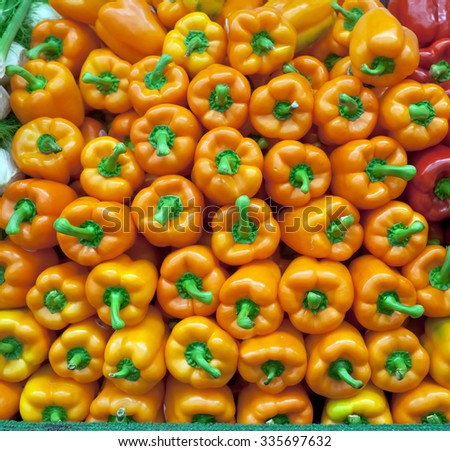 Fresh bell peppers for sale at chelsea market in New York - stock photo