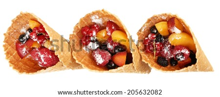Fresh berries dessert for healthy snack  isolated on white