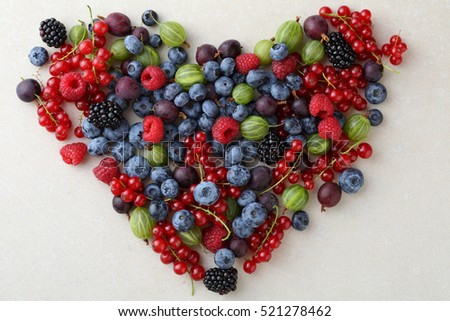 Fresh berries healthy lifestyle concept, love fruits