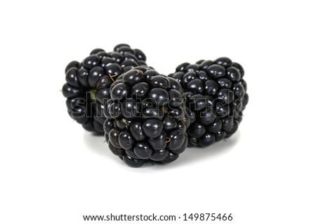 Fresh blackberries on white background - stock photo