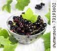 Fresh blackcurrant in glass bowl - stock photo