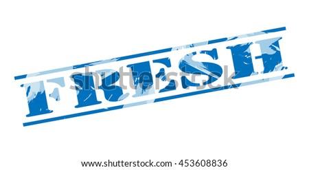 fresh blue stamp on white background - stock photo