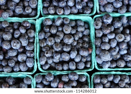 Fresh Blueberries in Pint Containers - stock photo
