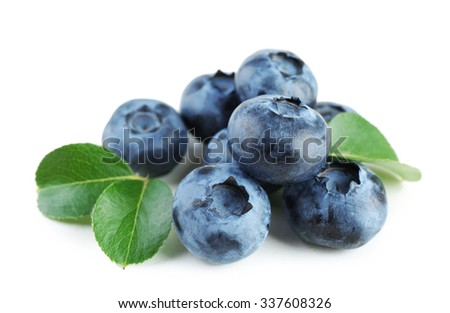 Fresh blueberries isolated on white - stock photo