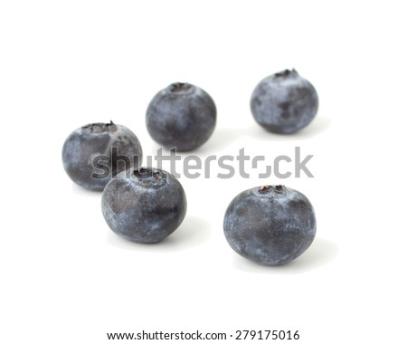 Fresh blueberries isolated on white background closeup - stock photo