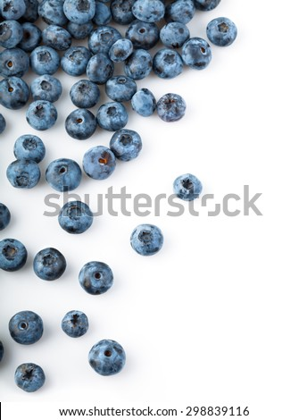 Fresh blueberries sprinkled. Isolated on white background - stock photo