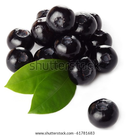 Fresh blueberry with green leaf isolated on white background - stock photo