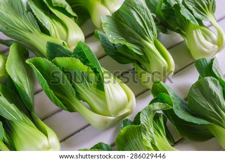 Fresh bok choy with tender green leaves and crispy stalks. - stock photo