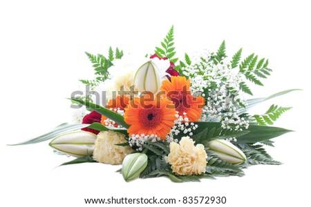 fresh bouquet isolated on white background - stock photo