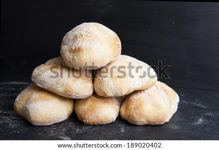 fresh bread baguette buns  - stock photo