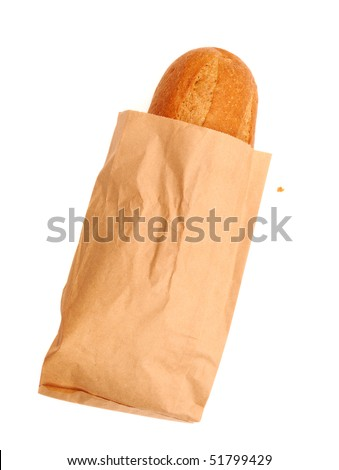 fresh bread in a paper bag over white background - stock photo