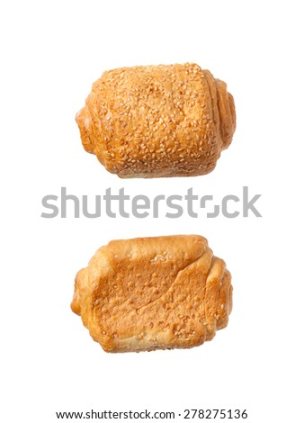 Fresh bread rolls isolated on white background - stock photo