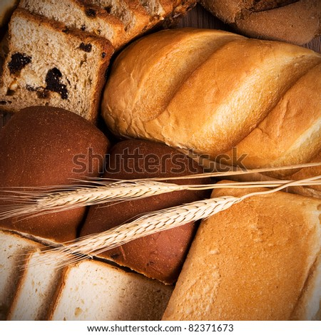 Fresh bread still life - stock photo