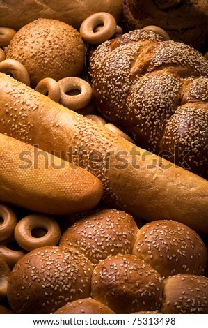 Fresh bread vertical composition - stock photo